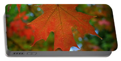 Autumn Leaf In The Rain Portable Battery Charger