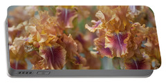 Autumn Leaves Irises In Garden Portable Battery Charger