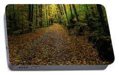Portable Battery Charger featuring the photograph Autumn Leaves On The Trail by David Patterson