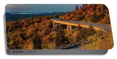 Morning Sun Light - Autumn Linn Cove Viaduct Fall Foliage Portable Battery Charger