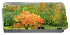 Autumn Maple With Horses Grazing Portable Battery Charger