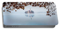 Autumn Mist Over Lake Bled Portable Battery Charger