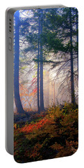 Autumn Morning Fire And Mist Portable Battery Charger by Diane Schuster