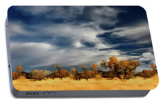 Portable Battery Charger featuring the painting Autumn On The Edge Of The Great Plains  by David Dehner
