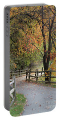 Autumn Path In Park In Maryland Portable Battery Charger