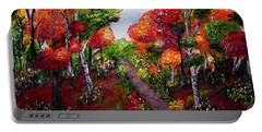 Portable Battery Charger featuring the painting Autumn Path by Sonya Nancy Capling-Bacle