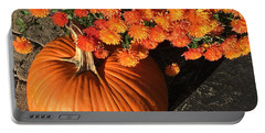 Autumn Pumpkin And Mums  Portable Battery Charger by Patricia E Sundik
