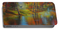 Portable Battery Charger featuring the painting Autumn Reflections by Jeanette French
