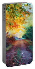 Autumn Road Portable Battery Charger by Diane Alexander