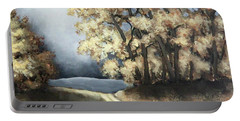 Portable Battery Charger featuring the painting Autumn Road by Inese Poga