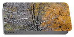 Portable Battery Charger featuring the photograph Autumn Snow by Doris Potter