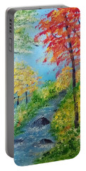 Portable Battery Charger featuring the painting Autumn Stream by Sonya Nancy Capling-Bacle