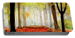 Portable Battery Charger featuring the painting Autumn Trail by Yoshiko Mishina