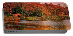 Autumn Trees On The Lake Portable Battery Charger