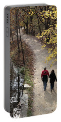 Autumn Walk On The C And O Canal Towpath With Oil Painting Effect Portable Battery Charger