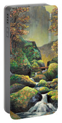 Portable Battery Charger featuring the painting Autumn Waterfalls by Lou Ann Bagnall