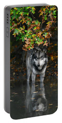 Portable Battery Charger featuring the photograph Autumn Wolf by Shari Jardina