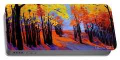 Portable Battery Charger featuring the painting Autumnal Landscape Painting, Forest Trees At Sunset by Patricia Awapara