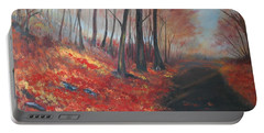 Portable Battery Charger featuring the painting Autumns Pathway by Leslie Allen