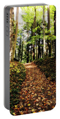 Portable Battery Charger featuring the photograph Autumn's Trail by Trina Ansel