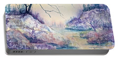 Autumnscape In Purple Portable Battery Charger by Carolyn Rosenberger