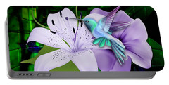 Portable Battery Charger featuring the mixed media Aviation Hummingbird by Marvin Blaine