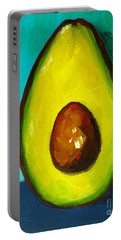 Avocado Modern Art, Kitchen Decor, Aqua Background Portable Battery Charger