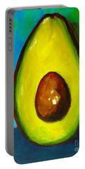 Avocado, Modern Art, Kitchen Decor, Blue Green Background Portable Battery Charger