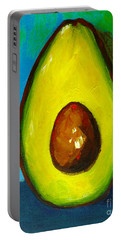 Avocado, Modern Art, Kitchen Decor, Blue Green Background Portable Battery Charger