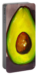 Portable Battery Charger featuring the painting Avocado Modern Art, Kitchen Decor, Grey Background by Patricia Awapara