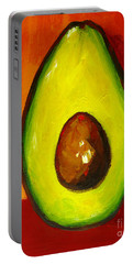 Avocado Modern Art, Kitchen Decor, Orange And Red Background Portable Battery Charger