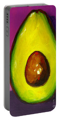 Portable Battery Charger featuring the painting Avocado Modern Art, Kitchen Decor, Purple Background by Patricia Awapara