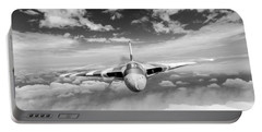 Portable Battery Charger featuring the digital art Avro Vulcan Head On Above Clouds by Gary Eason