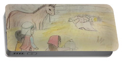 Away In A Manger With Child Shepherds Portable Battery Charger by Christy Saunders Church