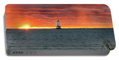 Awesome Sunset With Lighthouse  Portable Battery Charger