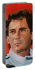 Ayrton Senna Portrait Painting Portable Battery Charger by Paul Meijering