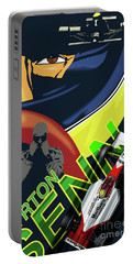 Portable Battery Charger featuring the painting Ayrton Senna by Sassan Filsoof
