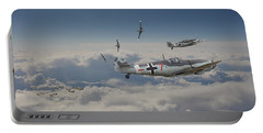 Portable Battery Charger featuring the digital art B17 - Luftwaffe Battleground by Pat Speirs