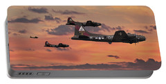 Portable Battery Charger featuring the digital art B17 - Sunset Home by Pat Speirs
