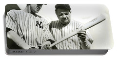 Babe Ruth And Lou Gehrig Portable Battery Charger by Jon Neidert