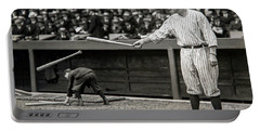 Babe Ruth At Bat Portable Battery Charger by Jon Neidert