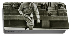 Babe Ruth Pitching Portable Battery Charger by Jon Neidert