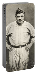 Babe Ruth Portrait Portable Battery Charger by Jon Neidert