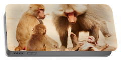 Baboon Family Having Fun In The Desert Portable Battery Charger