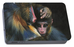 Portable Battery Charger featuring the painting Baboon Mother And Baby by David Stribbling