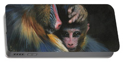 Baboon Mother And Baby Portable Battery Charger by David Stribbling