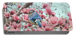 Baby Blue Jay In Magnolia Blossoms  Portable Battery Charger by Janette Boyd