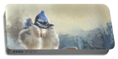 Baby Bluejay In Winter Portable Battery Charger