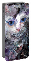 Portable Battery Charger featuring the painting Baby Blues by Sherry Shipley