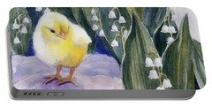 Baby Chick And Lily Of The Valley Flowers Portable Battery Charger